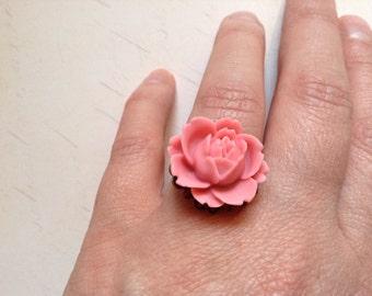 Vintage Inspired Pink Rose Flower Ring on Adjustable Copper Ring Base