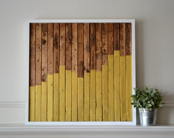 SALE Reclaimed Wood Art: Ascend, wood pieces with walnut stain and gold paint framed by pine boards