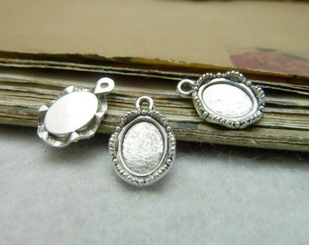 100pcs 8x10mm Antique Bronze Antique Silver Oval Bezel Cup Cabochon Mountings Jewelry Findings AC7853