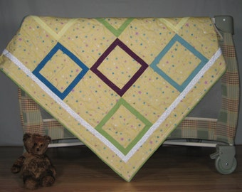 Baby Quilt, Yellow with stars