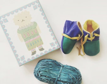 SALE 18-24 Months Slippers / Baby Shoes Lamb Leather green blue mustard yellow