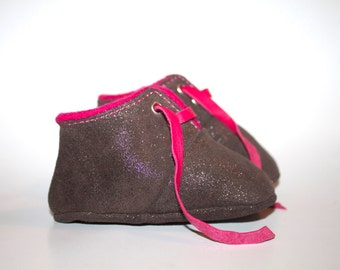 3-6 Months Slippers / Baby Shoes Lamb Leather Glitter Gray