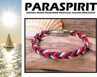 Nautical Bracelet / Rope / Surfer / Beach / Paracord Bracelet with Stainless Steel Magnetic Clasp