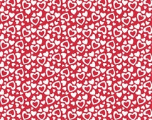 Red Hearts Fabric -  Riley Blake Designs. Holiday Heart Fabric - Great for Valentines Day. 100% cotton. C561.