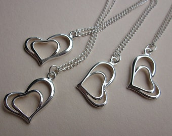 Sterling heart pendants 925 heart pendant silver heart pendant double heart silver pendant free chains floating heart charm clearance