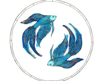 Pisces Zodiac Illustration Print with Gold Foiling