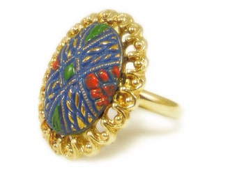 Bold and Colorful Gold Tone Adjustable Ring