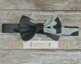 Custom Black & Grey Camo Bow Tie Sizes Infant, Child, Youth, Men
