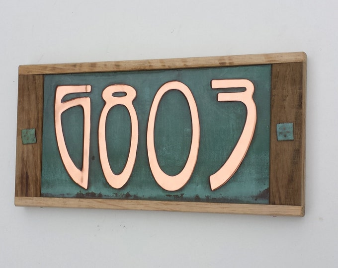 "Art Nouveau house address plaque  3""/75mm, 4""/100mm x 4 numbers, Oak framed and Copper, polished, patinated and  laquered g"
