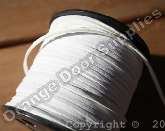 20 Feet White Faux Leather Smooth Side Cord 3 x 1.5 mm- (305)