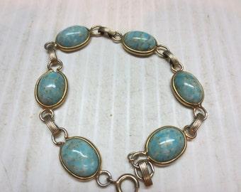 Faux turquoise bracelet turquoise stone silver tone