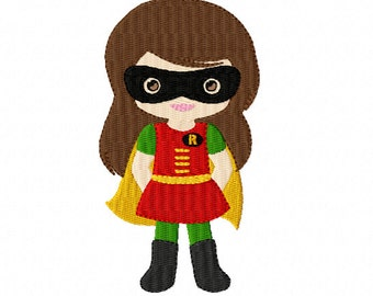 SUPER HERO - Robin Girl ~ Filled Machine Embroidery Design in 2 sizes ~ Instant Download ~ Batman's sidekick ~ Dynamic Duo