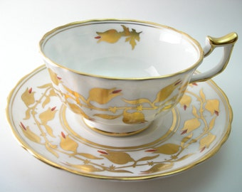 Antique Royal Chelsea  tea cup and saucer, English Bone China, White and gold flowers tea cup set, Handpainted