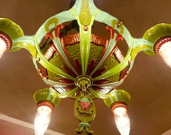 Lincoln Art deco chandelier - 1930's - One Of a Kind ! SOLD!