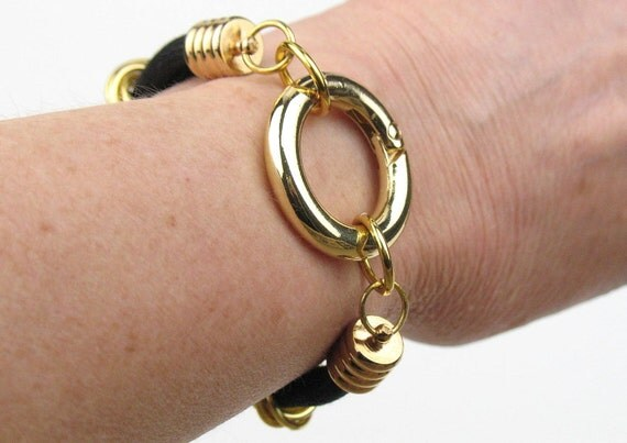 Textile Bracelet in Black and Gold with Double Mokuba Cord and  Circle Clasp / Gift for Her / Metal Fiber Jewelry / Statement Bracelet
