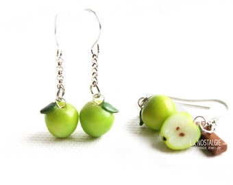 Apple Earrings, green apple, apple jewellery, modern earrings, minimal earrings, short dangle earrings, green earrings, teacher gifts apple