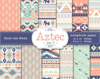 Aztec tribal ethnic digital Printable Papers 12 x 12 in AND 8.5x11 in  - mint and coral - invitations, scrapbooking, instant download