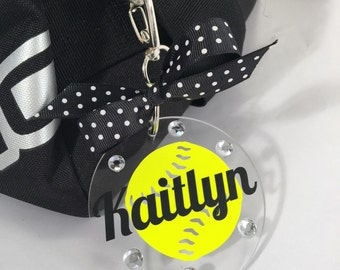 Softball Bag Tag in Neon Yellow, Gifts for Softball, Softball Coach Gifts, Fast Pitch Softball, Sports Decor, Personalized