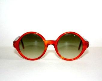 Vintage Sunglasses Les Copains 23 Hippie Round sunglasses Original 80s Made in Italy, NOS