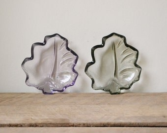 Vintage Duo of Coloured Glass Leaf Serving Plates