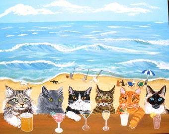 """Cat Art, Cats at the Beach Bar print,16'x20"""", cat bar, cat print, cat lovers gift, fun cat art, fun cat print, fun cat painting"""