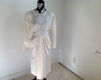 White Pattern Silk Long Sleeve Vintage Dress - 8