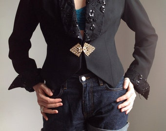 Black Women's Sequin Tuxedo Jacket - Small