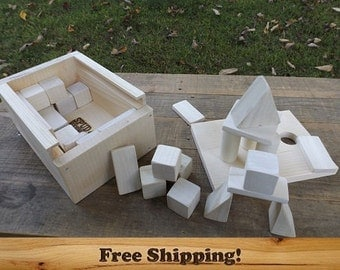 Wooden Building Blocks set of 32, Handcrafted wooden toy blocks. Assorted Shapes and Sizes, Baby Blocks, Wood Building Blocks with a box!