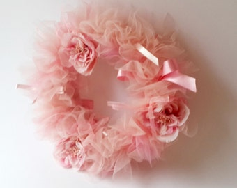 Pink Shades  Tulle Wreath with flowers and ribbons. Tutu wreath. Shaby Chic Pink  Wreath