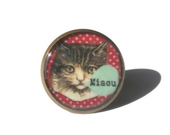Cat ring, kitty ring, adjustable ring, cat jewelery, resin ring, cute ring, comics ring, love cat ring