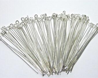 120 Silver Plated Eye Pins 50mm Craft Jewellery Making Findings Earrings