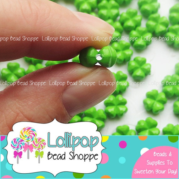 Lime Green Four Leaf Clover Beads 11mm Acrylic Shamrock