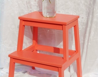 Coral Hand Painted Step Stool/ Step Ladder /Accent Table