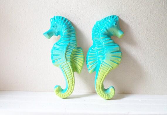 Seahorse wall decor, Tiki decor, nautical art, aqua blue, blue Hawaii