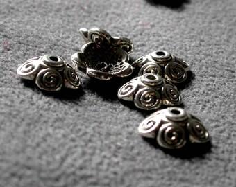 48pcs Antique Bronze 10X4mm  Cap flower beads Charm Drop Pendant  M13