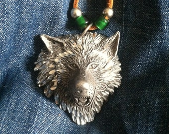 Large Pewter Wolf Necklace on Deerskin Lace