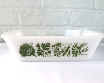 Glasbake by Jeannette Herb Decorated Loaf Pan