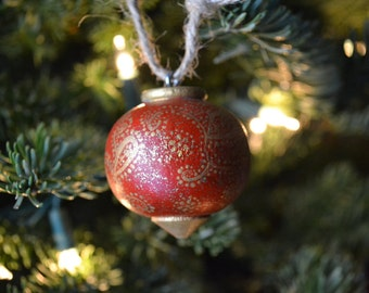 Red with Gold Paisley Wooden Hand Painted Swirled Dots Christmas Ornaments