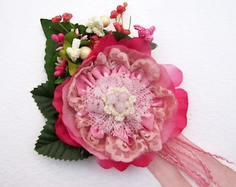 Free Shipping/Handmade Wedding Candy Pink Lacy  Flower Brooch /Hair Clip/Bag Clip