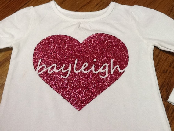 Kids custom glitter vinyl heart valentines short sleeve shirt on etsy