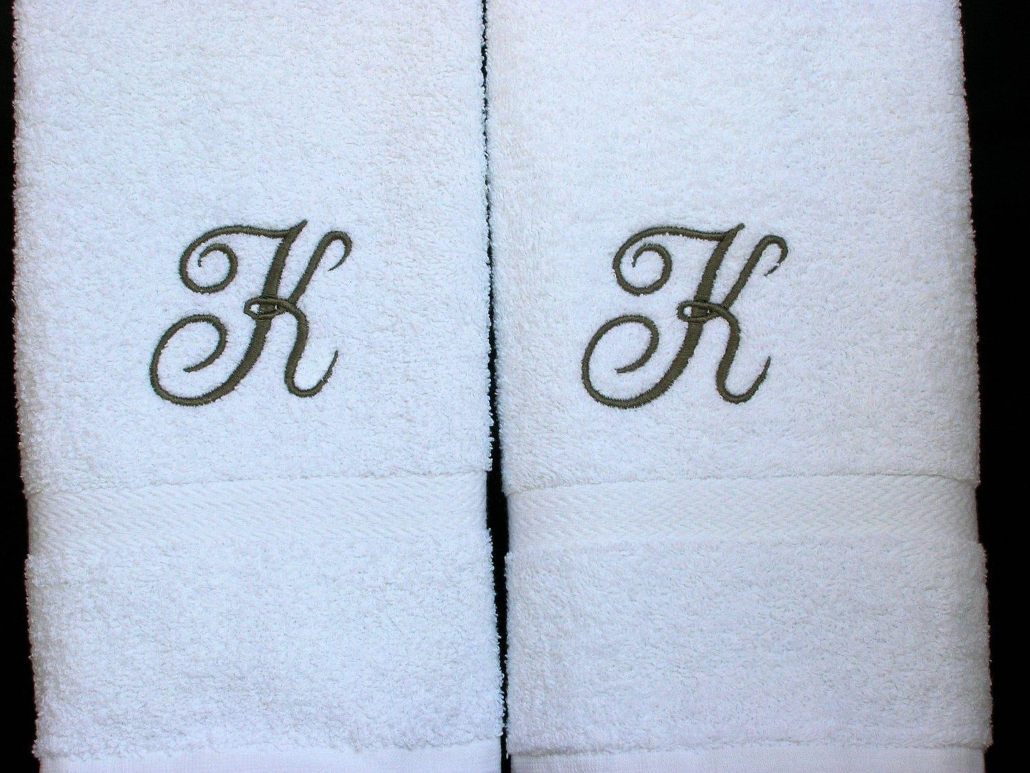 Monogrammed Towels Letter K Towels Cotton Hand Towels