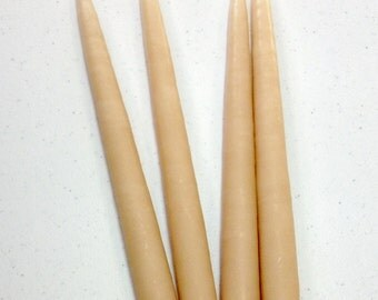 """Beige hand-dipped 10"""" taper candles. One pair (2)."""