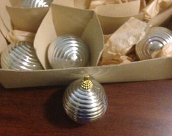 5 Christmas Vintage Silver Ornaments Non Glass Ornament Bulb Xmas