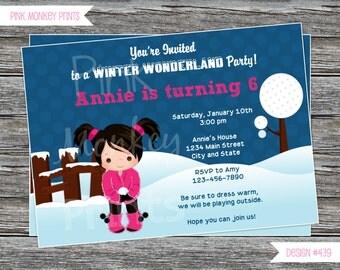DIY - Girl Winter Wonderland Birthday Party Invitation # 439 - Coordinating Items Available