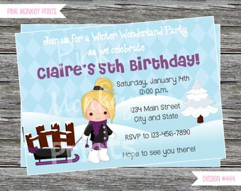 DIY - Girl Snow Sledding Birthday Party Invitation # 444 - Coordinating Items Available