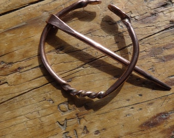 Artisan Hand Forged Copper Penannular Cloak Brooch Pin-Celtic Inspired-Scarf-Coat