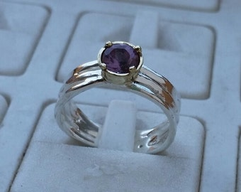 Amethyst Ring ,Silver and Gold Ring ,Sterling Silver 925 Ring ,14K Yellow Gold Amethyst Ring ,Handmade Engagement Ring , Birthstone Ring