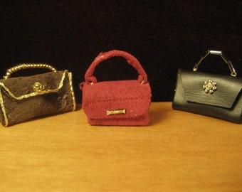 Miniature Doll House  Designer leatherette purses, 1:12 scale, Handmade.