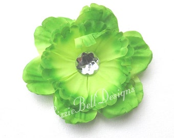 Lime Peony Childs Flower Hair Clip / Perfect for Headband or Tutu
