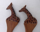 Vintage Carved Wood Giraffe Fork & Spoon Salad Set / African Art